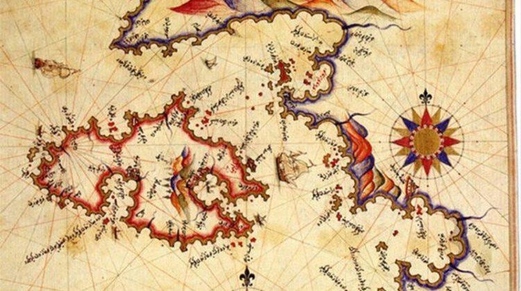Ortada Atlas Okyanusu var. Haritanın kuzeyinde ve güneyinde 32′şer uçlu birer rüzgargülü var. 95′e 65 cm büyüklüğünde. Ayrıca haritanın üzerinde renkli resimler görülüyor.