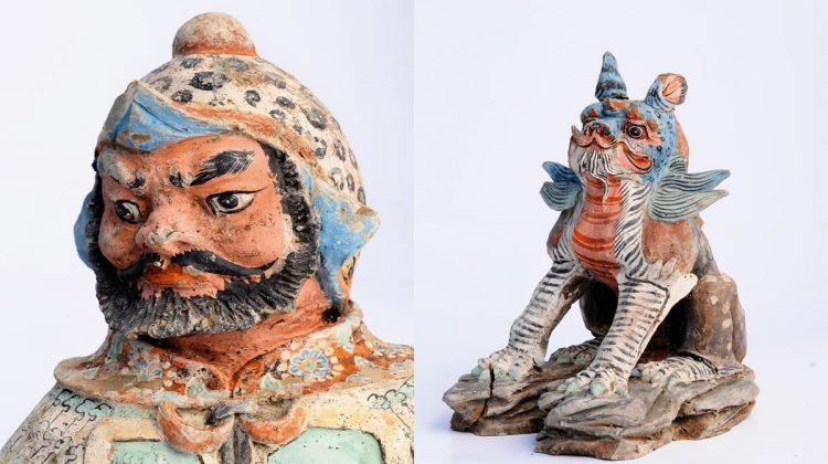Renkli Göktürk Erkeği Kurgandan çıkan pişmiş topraktan heykelcikler canlı renklerle boyanmış ve en ince noktasına kadar işlenmiş. Fotoğraftaki erkek heykelciliğinin yüzünde bu detayları görmek mümkün.