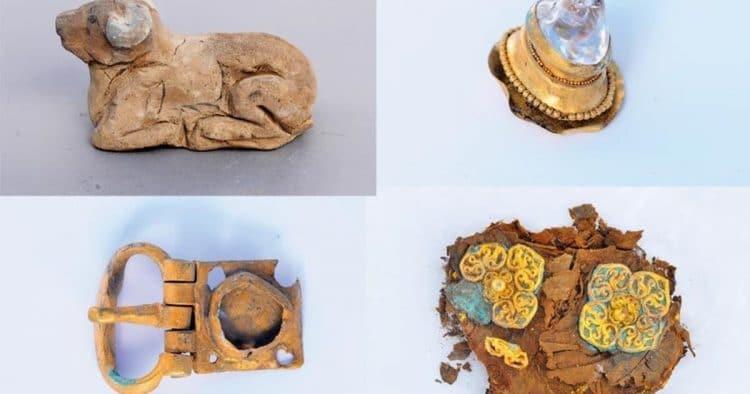 Tabutta İpek Kaftan Kurgandan çıkan heykelcikler arasında köpek (en üstte, solda), değerli taşlar (en üstte, sağda), kemer tokası (üstte, solda) ve elbise süslemeleri (üstte, sağda) de yer alıyor. Altından yapılan elbise süslemesi ipekten bir kaftana takılmış ve bu kaftanla, tabutun içindeki eşyalar ve ölen kağanın külünün konulduğu küçük kutunun üzeri örtülmüş. İpek bozulduğundan kaftan biçimini kaybetmiş.